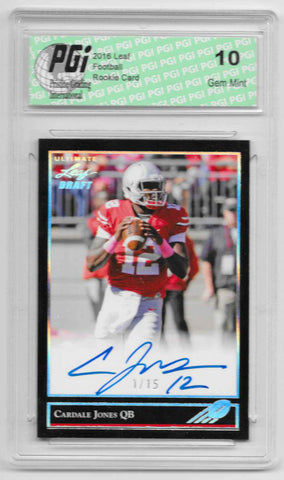 Cardale Jones 2016 Ultimate Leaf Draft Auto #1 of 15 Made Rookie Card PGI
