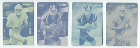 Daniel Jones 2019 Leaf HYPE! All 4 1-of-1 Rookie Card Printing Plate Lot Giants