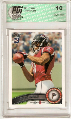 ~ Julio Jones Falcons #350 WR 2011 Topps Rookie Card PGI 10