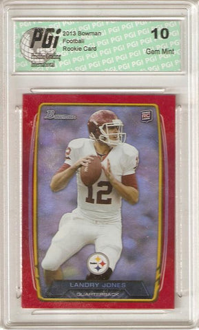 Landry Jones 2013 Bowman Red Refractor SP Only 199 Made Rookie Card PGI 10