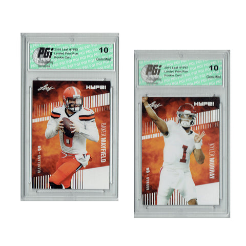 Kyler Murray #22 & Mayfield #3A Leaf Hype 2-Pack 5000 Made Rookie Cards PGI 10