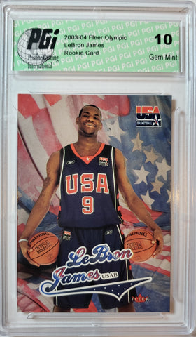 ~ 2003-04 LeBron James Skybox/Fleer Team USA Rookie Card PGI 10 Lakers