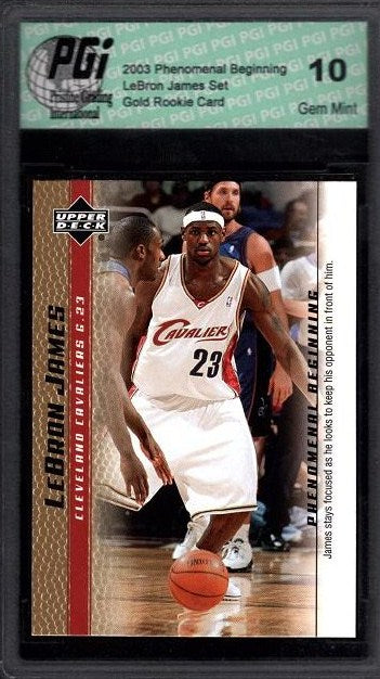LeBron James 2003 Upper Deck GOLD SP PHENOMENAL BEGINNING Rookie Card PGI 10 #14