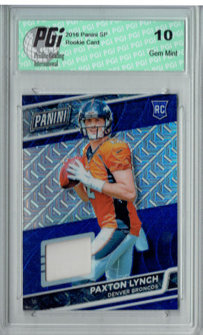 Paxton Lynch 2016 Panini Cracked Ice #14/25 Used Patch Rookie Card PGI 10