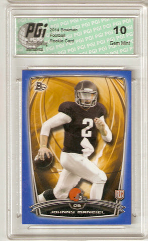 Johnny Manziel 2014 Bowman Football Blue SP #350/499 Browns Rookie Card PGI 10