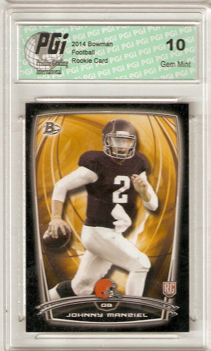 Johnny Manziel 2014 Bowman White Football #9 Browns Rookie Card PGI 10