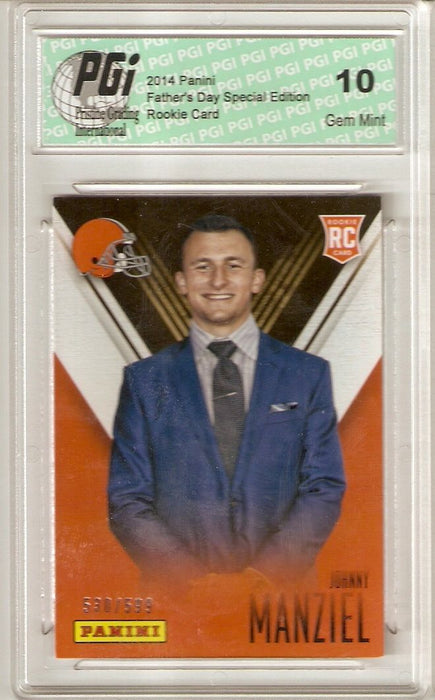 @ Johnny Manziel 2014 Panini Super Short Print Only 599 Made Rookie Card PGI 10