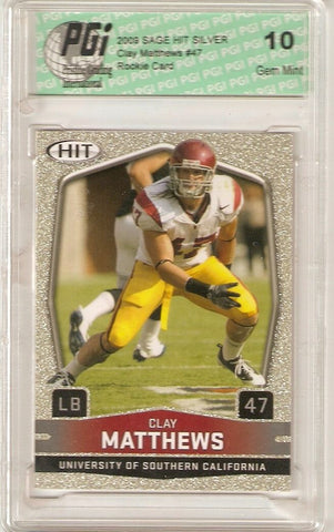 Clay Matthews 2009 Sage Hit Silver SP Packers USC Rookie Card PGI 10