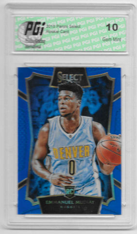 Emmanuel Mudiay 2015 Panini Select Blue Refractor Rookie Card 249 Made PGI 10