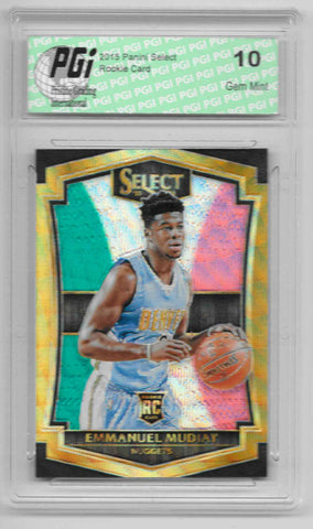 Emmanuel Mudiay 2015 Panini Select Tri Color Refractor Rookie Card #153 PGI 10