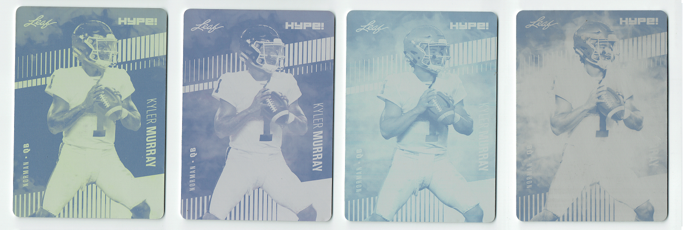 Kyler Murray 2019 Leaf HYPE! 4) 1 of 1 Rookie Card #22a Printing Plate Lot SSP