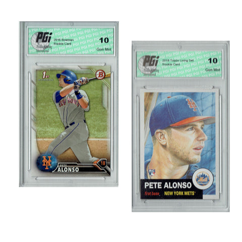 Pete Alonso 2016 Bowman #BD-92, 2019 Topps Living Set #176 Rookie Cards PGI 10