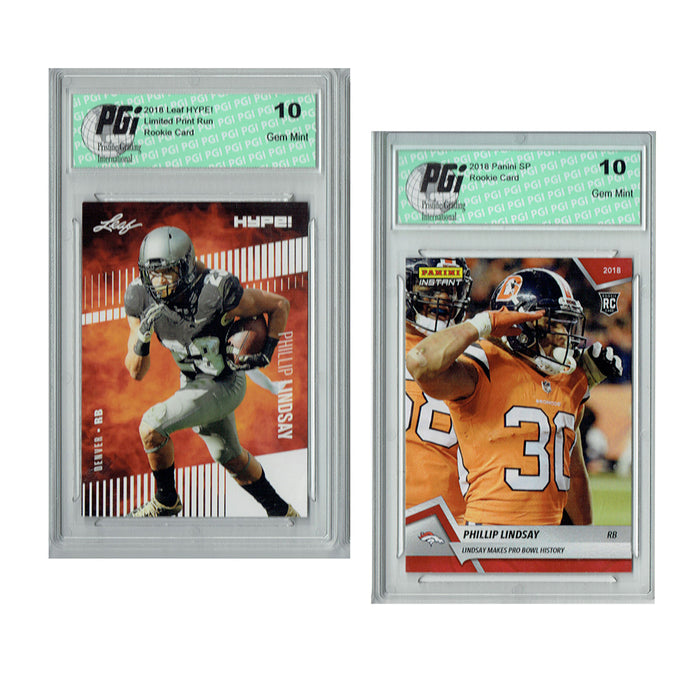 Phillip Lindsay 2018 Rookie Card 2-Pack Leaf HYPE! #12 / Panini Inst #194 PGI 10