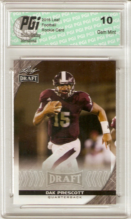 Dak Prescott 2016 Leaf Draft #19 Rookie Card PGI 10 Dallas Cowboys