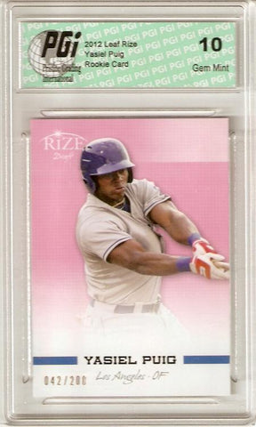Yasiel Puig 2012 Leaf Rize Draft PINK SP Only 200 Made Rookie Card PGI 10