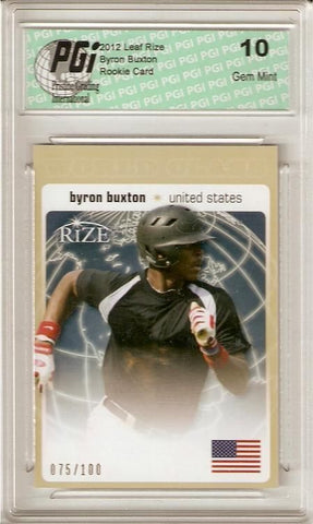 Byron Buxton 2012 Leaf Rize World Class SP GOLD Only 100 Made Rookie Card PGI 10