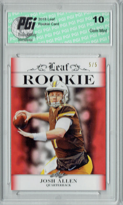 Josh Allen 2018 Leaf Exclusive #RA-02 Red SP, Only 5 Made Rookie Card PGI 10