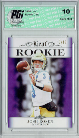 Josh Rosen 2018 Leaf Exclusive #RA-03 Purple Jersey #3/10 Rookie Card PGI 10