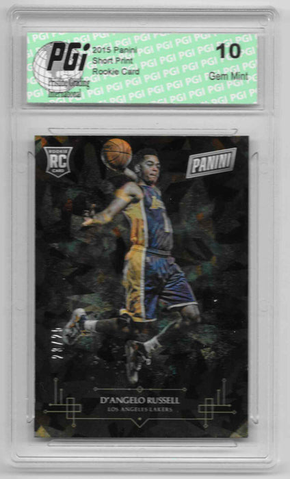 2015 D'angelo Russell Panini Cracked Ice SP Only 25 Made Rookie Card #10 PGI 10