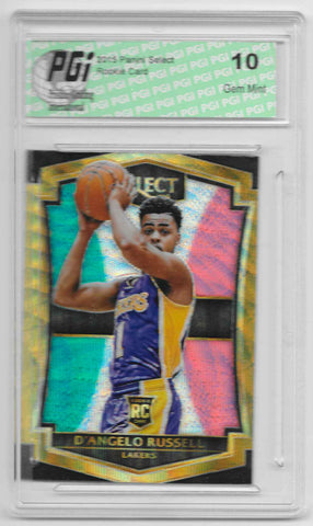 D'Angelo Russell 2015 Panini Select Tri Color Refractor Rookie Card #162 PGI 10