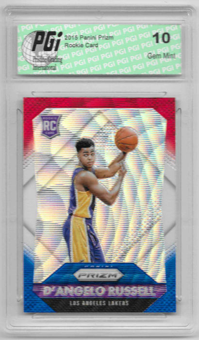 D'Angelo Russell 2015 Panini Prizm Red White and Blue Refractor Rookie Card