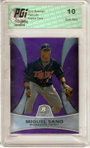 Miguel Sano Bowman Platinum Purple Rookie Card PGI 10