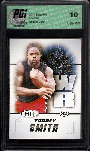 Torrey Smith WR 2011 SAGE HIT Rookie Card PGI 10