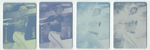 Juan Soto 2018 Leaf HYPE! All 4 Rare 1-of-1 Rookie Card Printing Plate Lot SSP