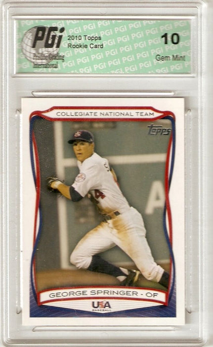 George Springer 2010 Topps USA-41 Very First Rookie Card PGI 10