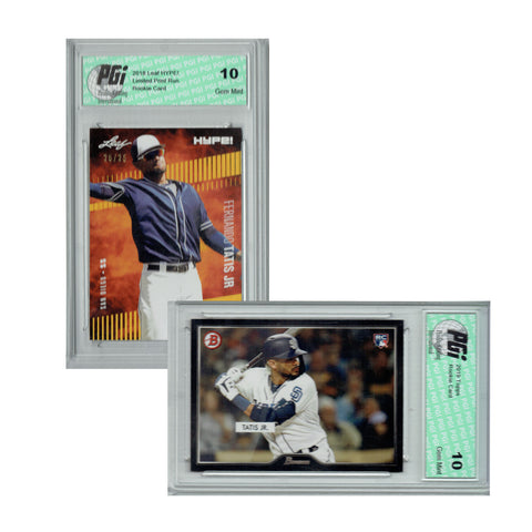 Fernando Tatis Jr. 2019 Topps, 2018 Leaf HYPE! 1 of 25 Rookie Card 2-Pack PGI 10