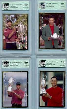TIGER WOODS 4 Card lot 2001 SCI Gold Rookie Card PGI 10 Masters, PGA,