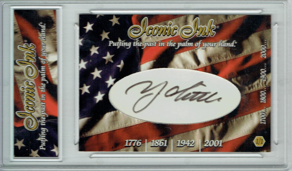 Y.A. Tittle 2017 American Heroes Iconic Ink Signed Cut Auto 1/1 Card JSA