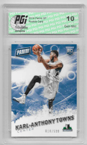 Karl-Anthony Towns 2016 Panini SP #57 SP, 599 Made Rookie Card PGI 10