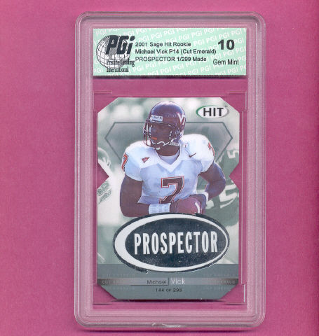 Michael Vick Sage Cut Emerald Rookie Card PGI 10 1/299