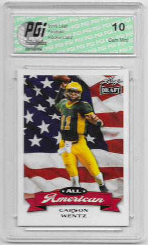 Carson Wentz 2016 All-American Leaf Draft #AA02 Rookie Card PGI 10 Bisons