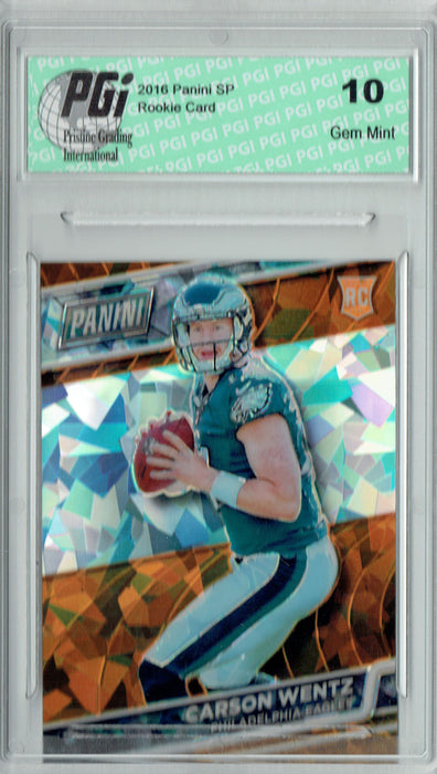 Carson Wentz 2016 Panini Cracked Ice #32 Only 25 Made Rookie Card PGI 10