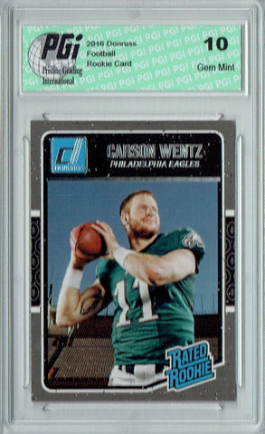 Carson Wentz 2016 Donruss Rated Rookie #356 SP Rookie Card PGI 10