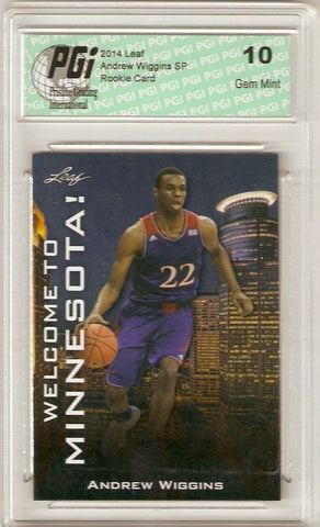 Andrew Wiggins 2014 Leaf SP Welcome to Minnesota WTM-AW1 Rookie Card PGI 10
