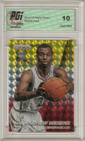 2014-15 Panini Prizm Andrew Wiggins Red/Gold Mosaic Refractor Rookie Card PGI 10