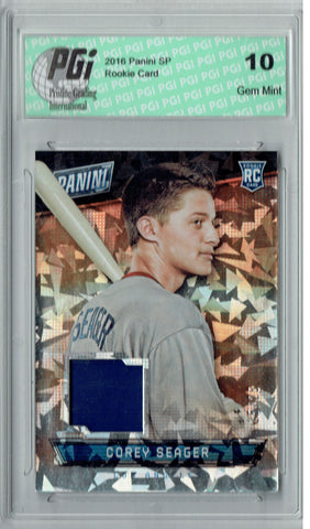 Corey Seager 2016 Panini Cracked Ice #23 25 Made, Patch Rookie Card PGI 10