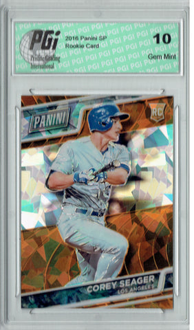Corey Seager 2016 Panini Cracked Ice #65 Only 25 Made Rookie Card PGI 10