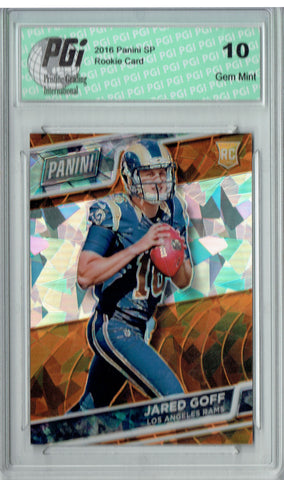 Jared Goff 2016 Panini Cracked Ice #38 Only 25 Made Rookie Card PGI 10