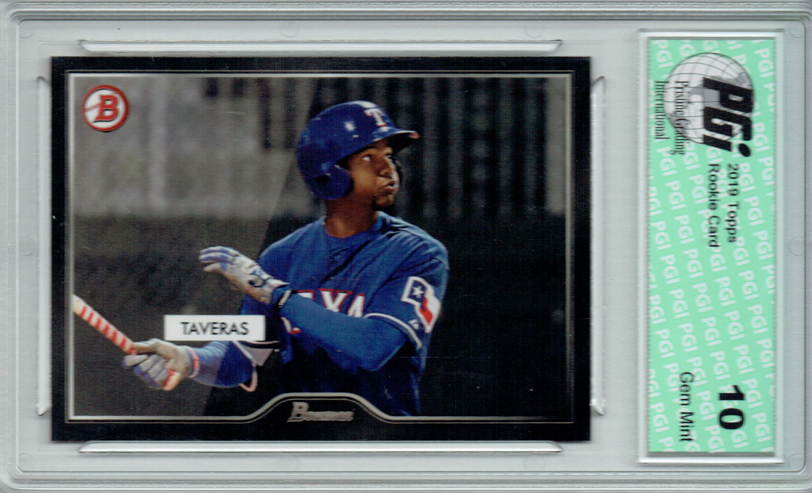 Leody Taveras 2019 Topps #22 55 Bowman SP 2500 Made Rookie Card PGI 10