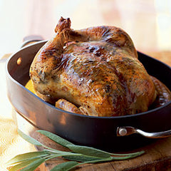 Simple Brined, Mushroom-Sage Extra Virgin Olive Oil Basted Turkey