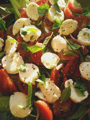 Torn Basil, Heirloom Tomato, and Mozzarella Fresca Salad