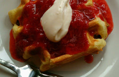 Lemon Agrumato Waffles with Fresh Strawberry & Cara Cara Orange-Vanilla Balsamic Compote