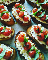 Roasted Cherry Tomato Bruschetta with Basil and Ricotta