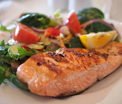 Grilled Salmon with Strawberry-Basil Relish