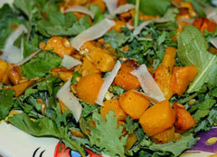 Organic Kale, Quinoa, and Roasted Butternut Squash Salad with Toasted Pumpkin Seeds