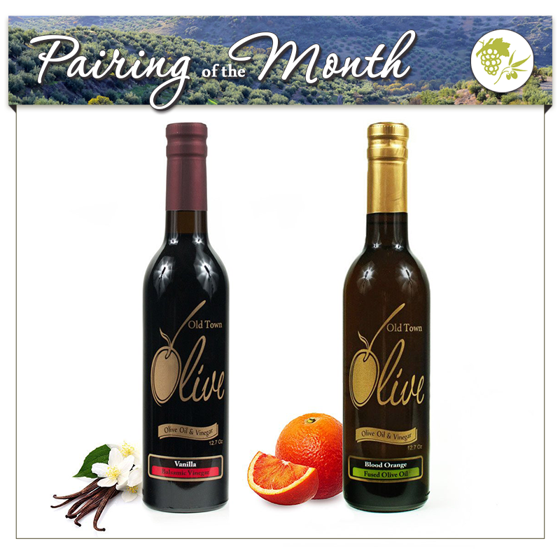 Aged Tahitian Vanilla Dark Balsamic Vinegar Condimento & Blood Orange Fused Olive Oil